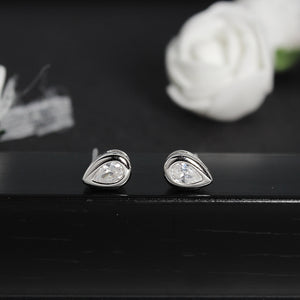Silver Drop Zircon Earring-GIVA Jewellery