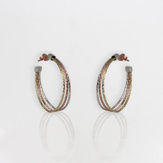 Multi Tone Hoop Earrings