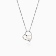 Load image into Gallery viewer, Silver Pearl Heart Pendant with Link Chain