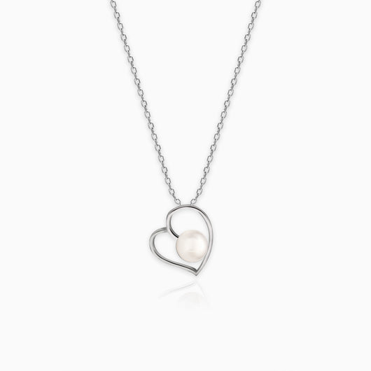 Silver Pearl Heart Pendant with Link Chain