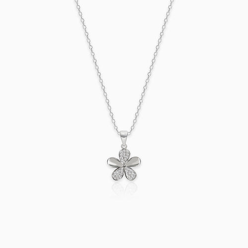 Silver Flower Pendant With Link Chain