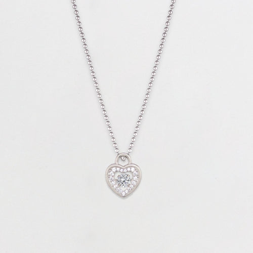 Silver Dancing Diamond Heart Necklace