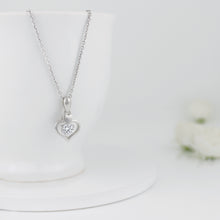 Load image into Gallery viewer, Silver Zircon Dual Heart Necklace with Link Chain