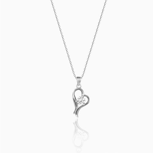 Silver Zircon Curl Heart Necklace with Link Chain