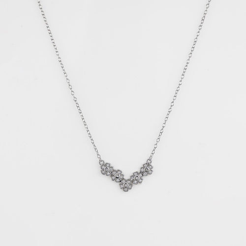 Silver Zircon Blossom Flower Necklace