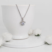 Load image into Gallery viewer, Silver Zircon Flower Pendant with Box Chain