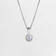 Load image into Gallery viewer, Silver Zircon Twirl Pendant with Link Chain