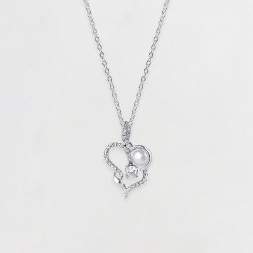 Silver Pearl Dual Heart Pendant with Link Chain