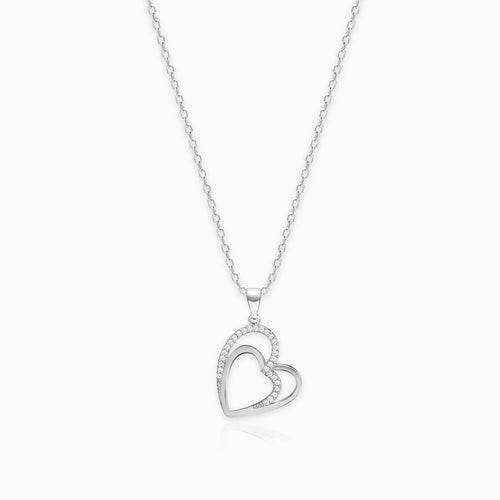 Silver Zircon Double Heart Pendant with Link Chain