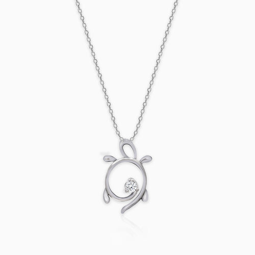 Silver Turtle Pendant with Link Chain