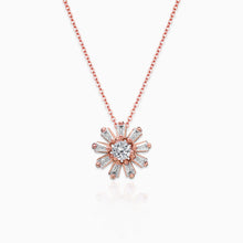 Load image into Gallery viewer, Rose Gold Baguette Flower Pendant with Link Chain