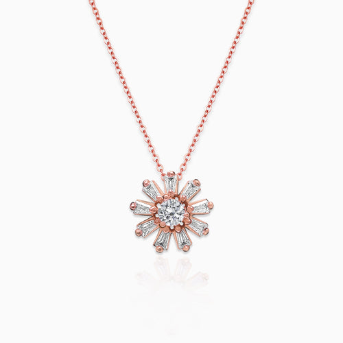 Rose Gold Baguette Flower Pendant with Link Chain