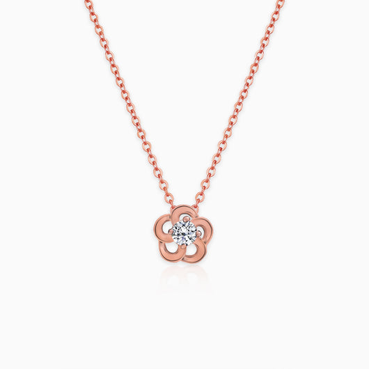 Rose Gold Flower Pendant with Link Chain