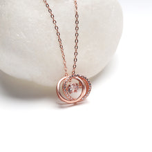Load image into Gallery viewer, Rose Gold Dancing Diamond Embrace Pendant with Link Chain