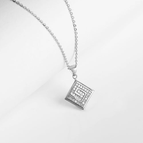 Silver Zircon Maze Pendant with Link Chain