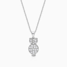 Load image into Gallery viewer, Silver Sparkling Owl Pendant with Link Chain