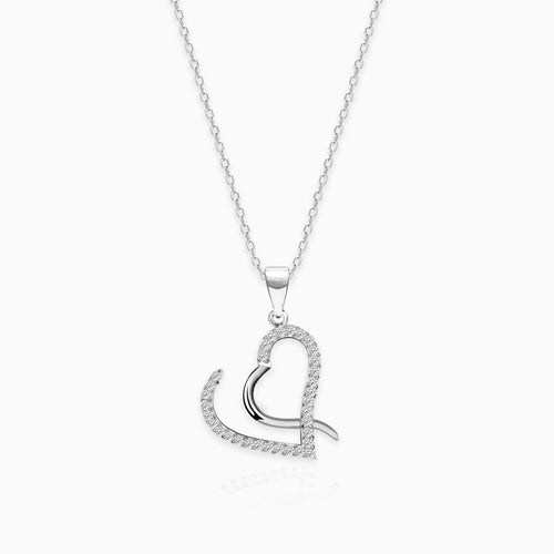 Silver Studded Curl Heart Pendant with Link Chain