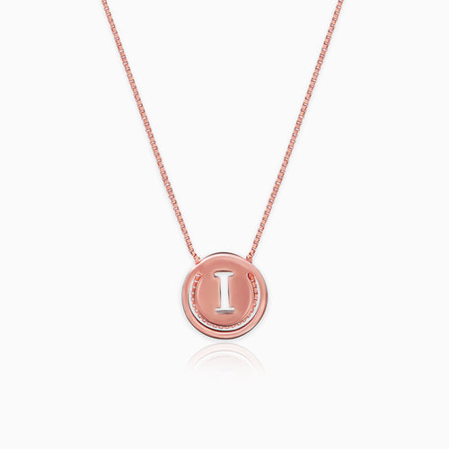Rose Gold I Initial Pendant with Chain