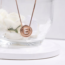 Load image into Gallery viewer, Rose Gold E Initial Pendant with Chain