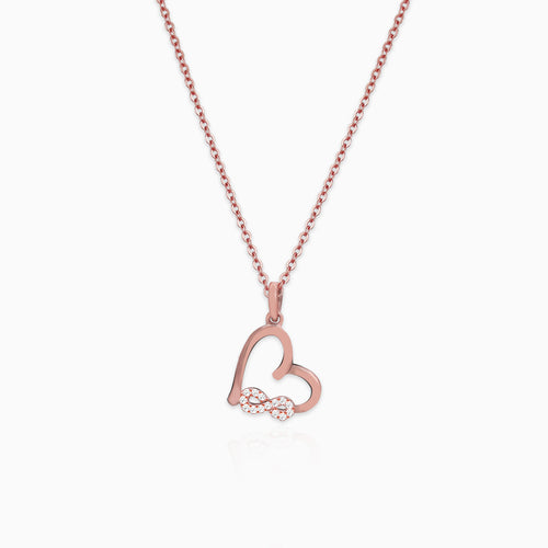 Rose Gold Infinity Heart Pendant with Link Chain