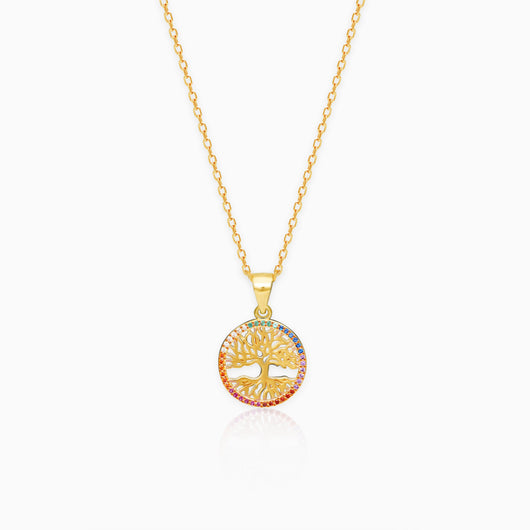 Golden Rainbow Tree of Life Pendant with Link Chain