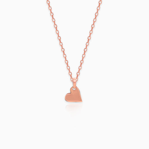Rose Gold Classic Heart Pendant with Link Chain