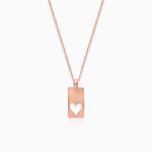 Rose Gold Heart Tag Pendant with Link Chain