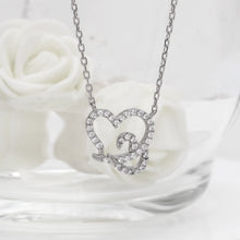 Load image into Gallery viewer, Silver Zircon Embrace Heart Pendant with Link Chain