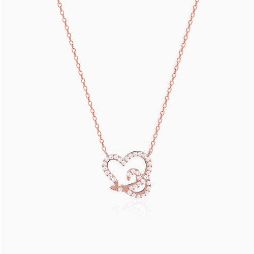 Rose Gold Embrace Heart Pendant with Link Chain