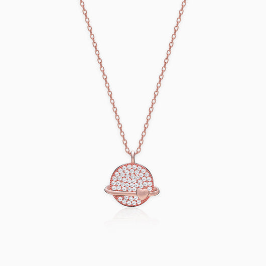 Rose Gold Heart World Pendant with Link Chain