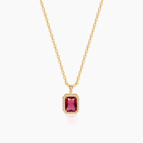 Golden Ruby Red Baguette Pendant with Link Chain