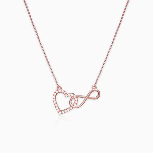 Rose Gold Sparkling Infinity Pendant with Link Chain