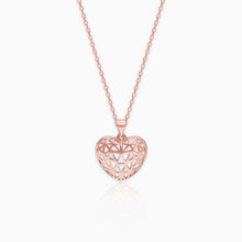 Load image into Gallery viewer, Rose Gold Filigree Heart Pendant with Link Chain