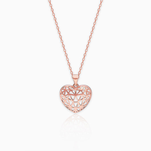 Rose Gold Filigree Heart Pendant with Link Chain