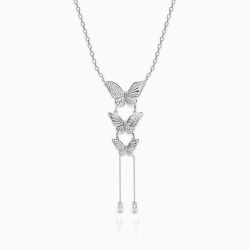 Silver Butterfly Trio Necklace