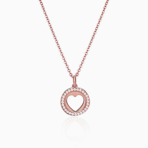 Rose Gold Halo Heart Pendant with Link Chain