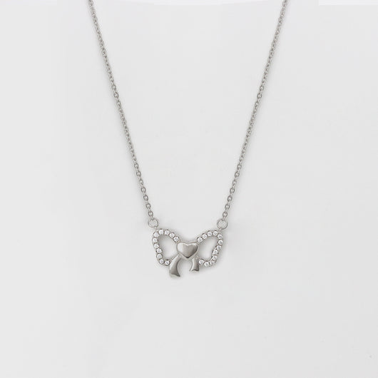Silver Charming Bow Pendant with Chain