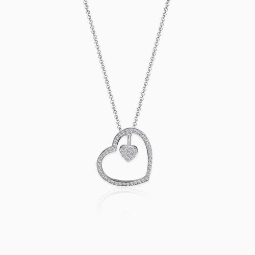 Silver Dazzling Zircon Heart Pendant With Link Chain