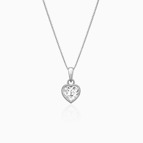 Silver Coeur Pendant with Box Chain