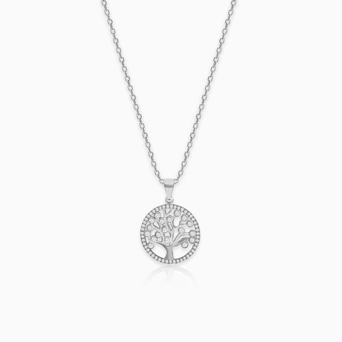 Silver Zircon Tree of Life Pendant with Link Chain