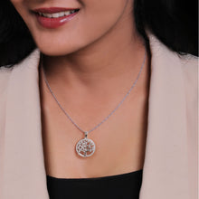 Load image into Gallery viewer, Silver Zircon Tree of Life Pendant with Link Chain