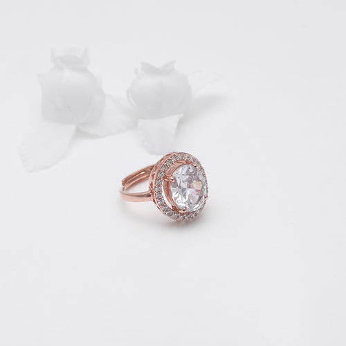 Neha Kakkar Rose Gold Solitaire Ring