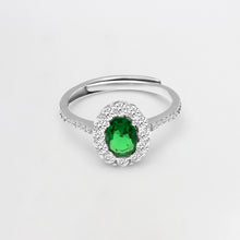 Load image into Gallery viewer, Silver Emerald Green Halo Ring