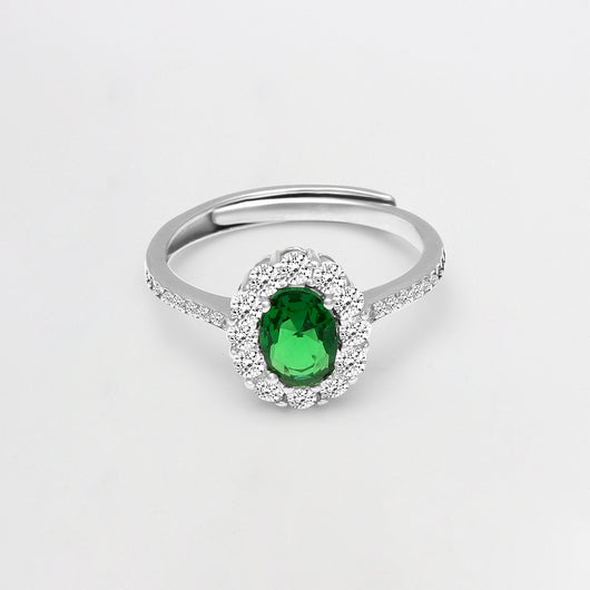 Silver Emerald Green Halo Ring
