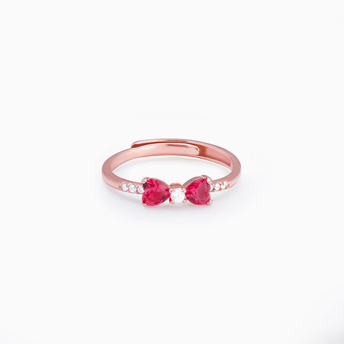 Rose Gold Cherry Bow Heart Ring