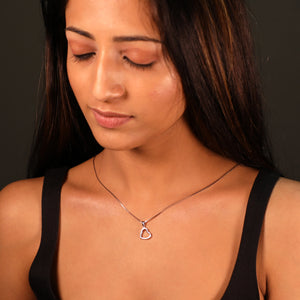 Rose Gold Line Heart Pendant-GIVA Jewellery