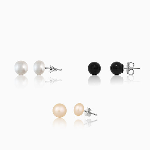 White Pearl + Peach Pearl + Black Pearl Earrings