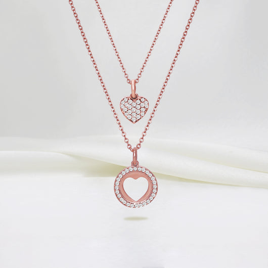 Rose Gold Halo Heart Set with Link Chain