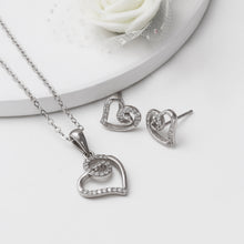 Load image into Gallery viewer, Silver Zircon Curl Heart Set with Link Chain