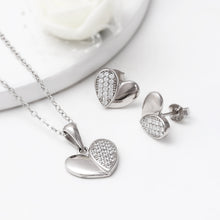 Load image into Gallery viewer, Silver Zircon Charming Heart Set with Link Chain
